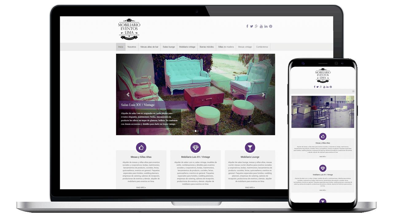 Diseño Web Profesional para Mobiliario Eventos Lima