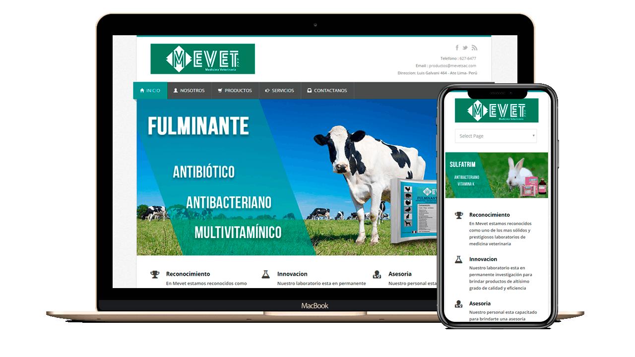 Diseño web Empresarial para Agro Veterinaria MEVET
