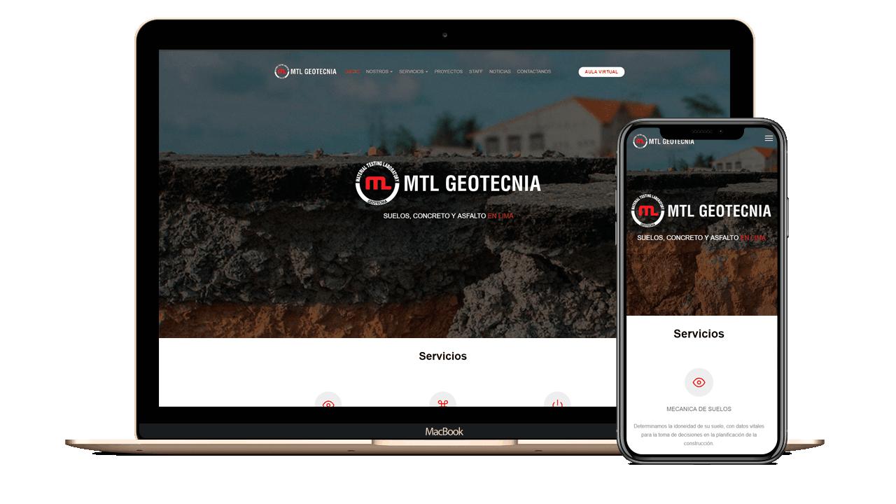 Diseño web Empresarial para MTL Geotecnia