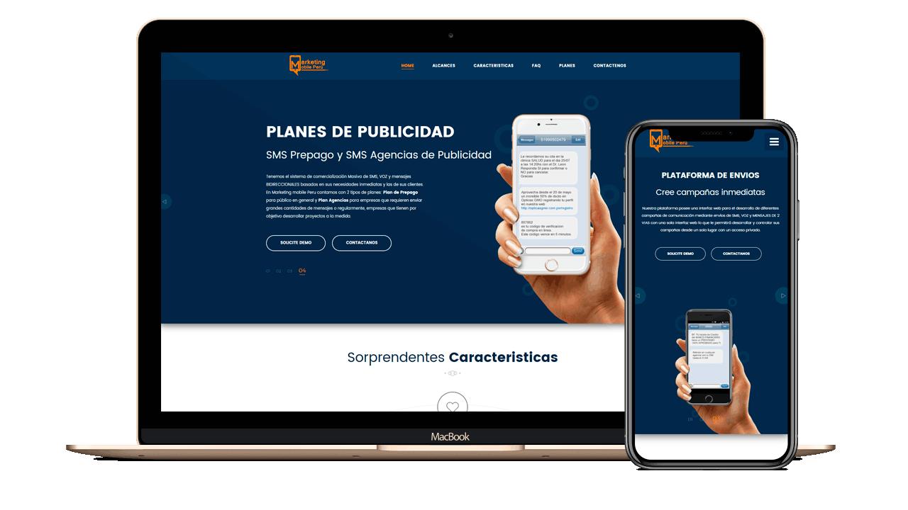 Diseño web Empresarial para SMSMASIVOS